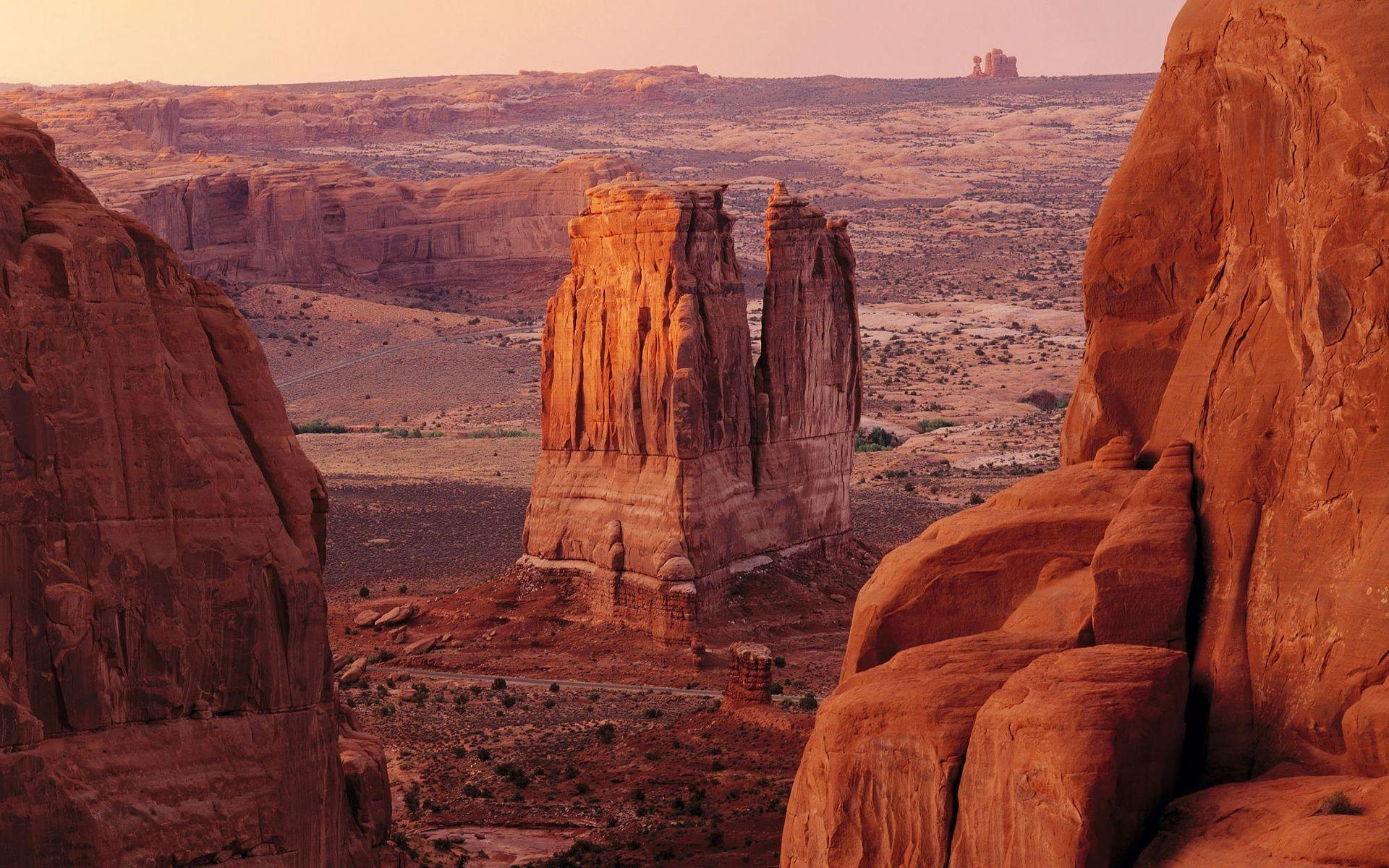 Courthouse Towers in Arches National Park Wallpapers and Stock Photo