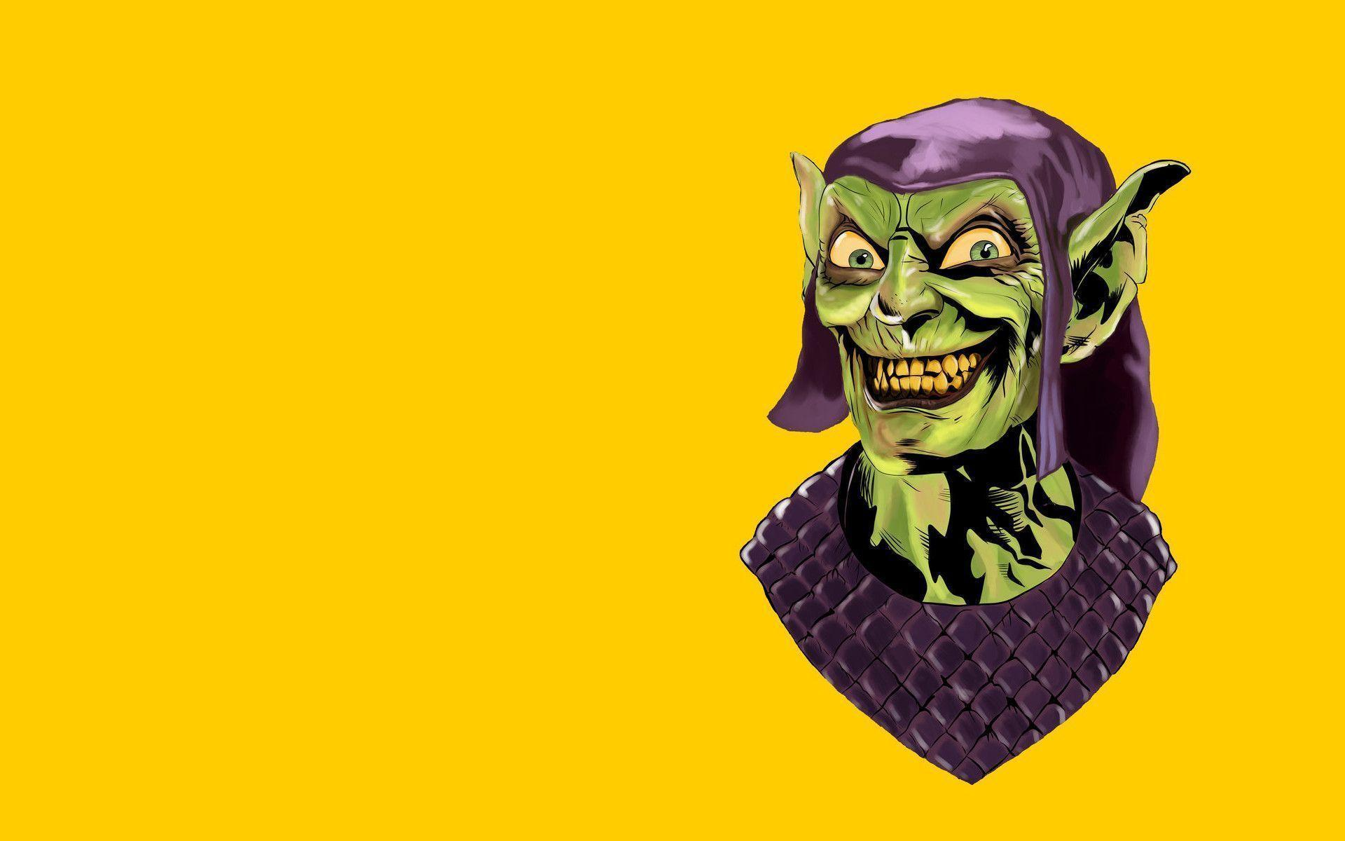 Download wallpapers minimalism, orange background, The Green Goblin