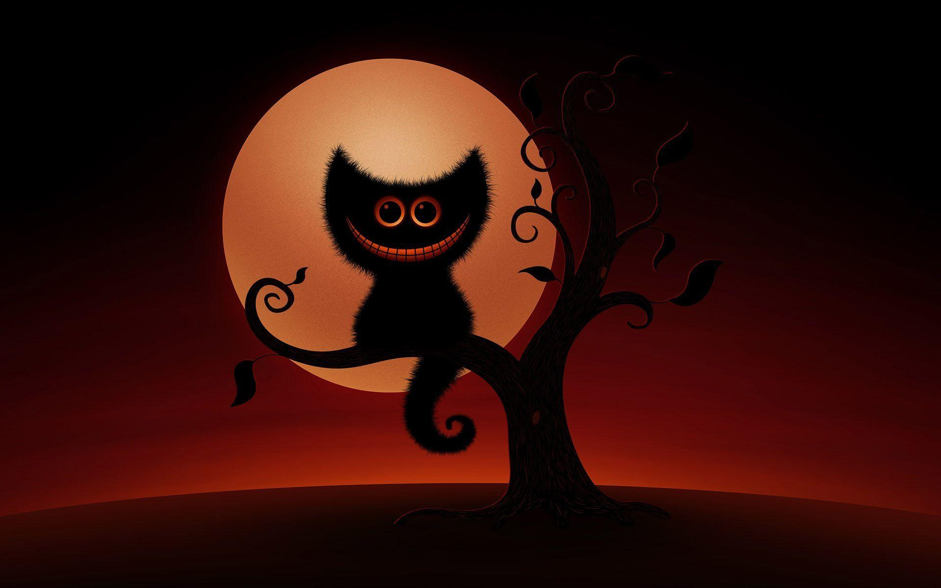 Wallpapers For > Halloween Cute Cat Wallpaper