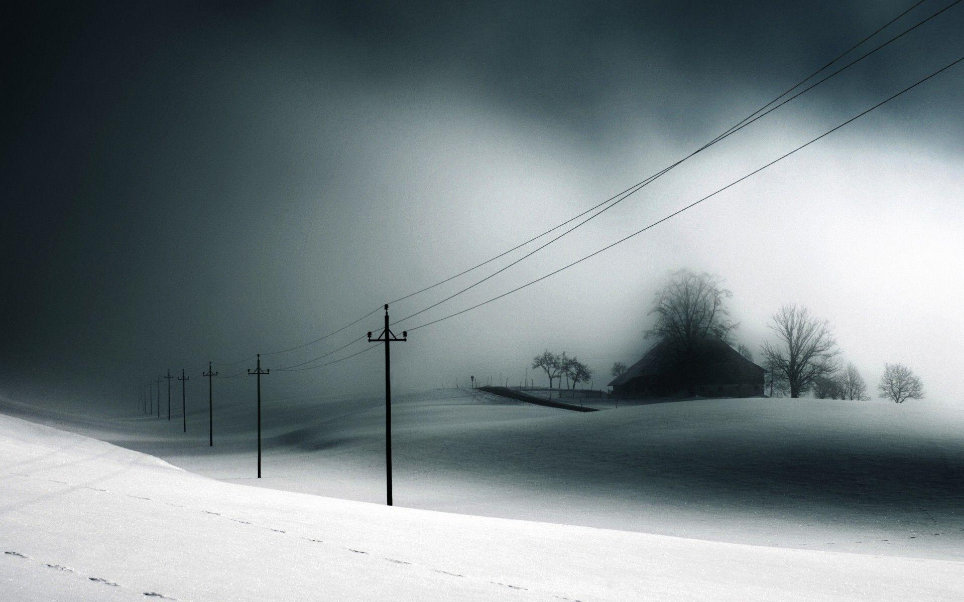 Winter snow house power lines treatment signs shadows storm ...