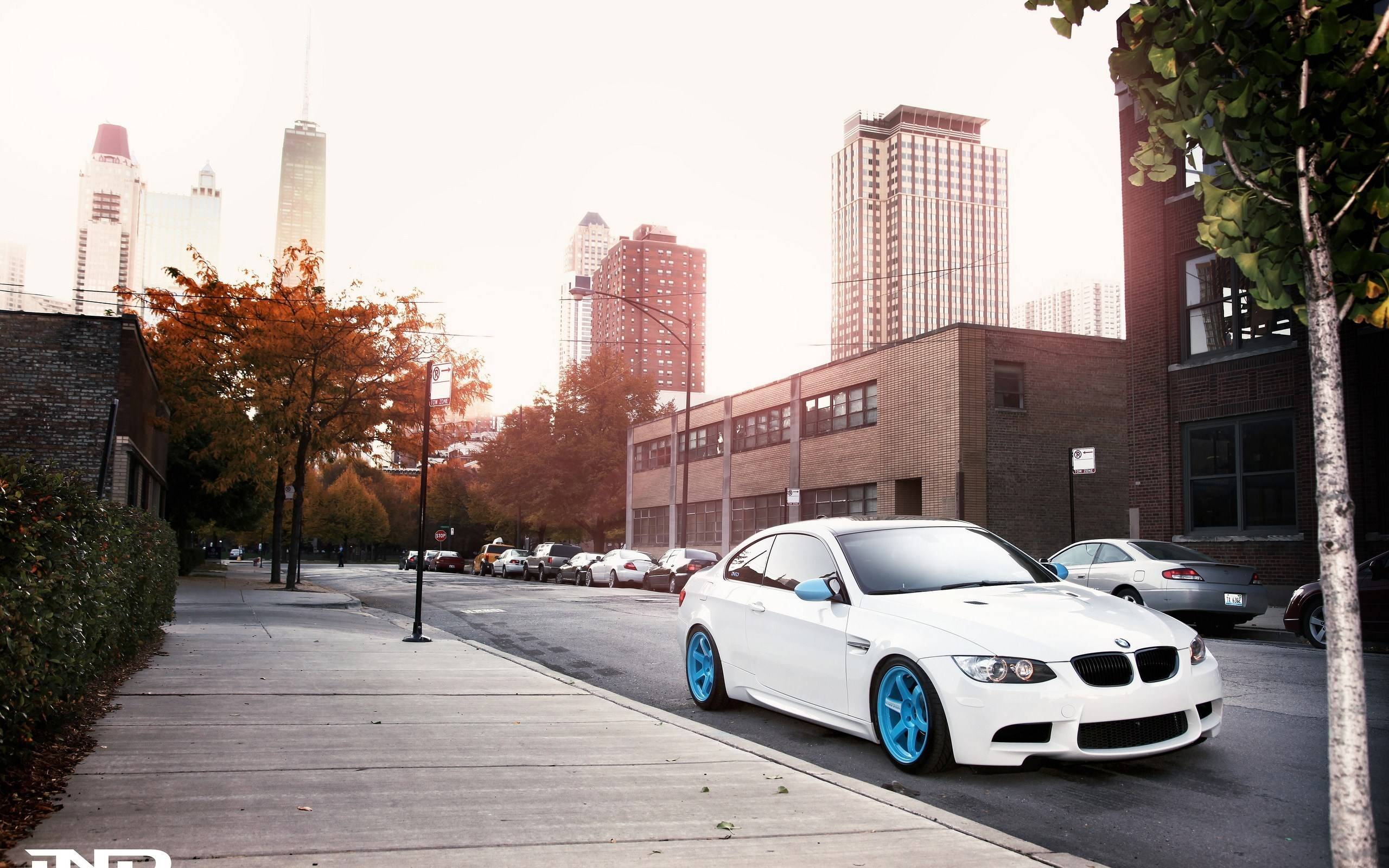 white bmw m3 e92 city street fall sunrise wide hd wallpapers