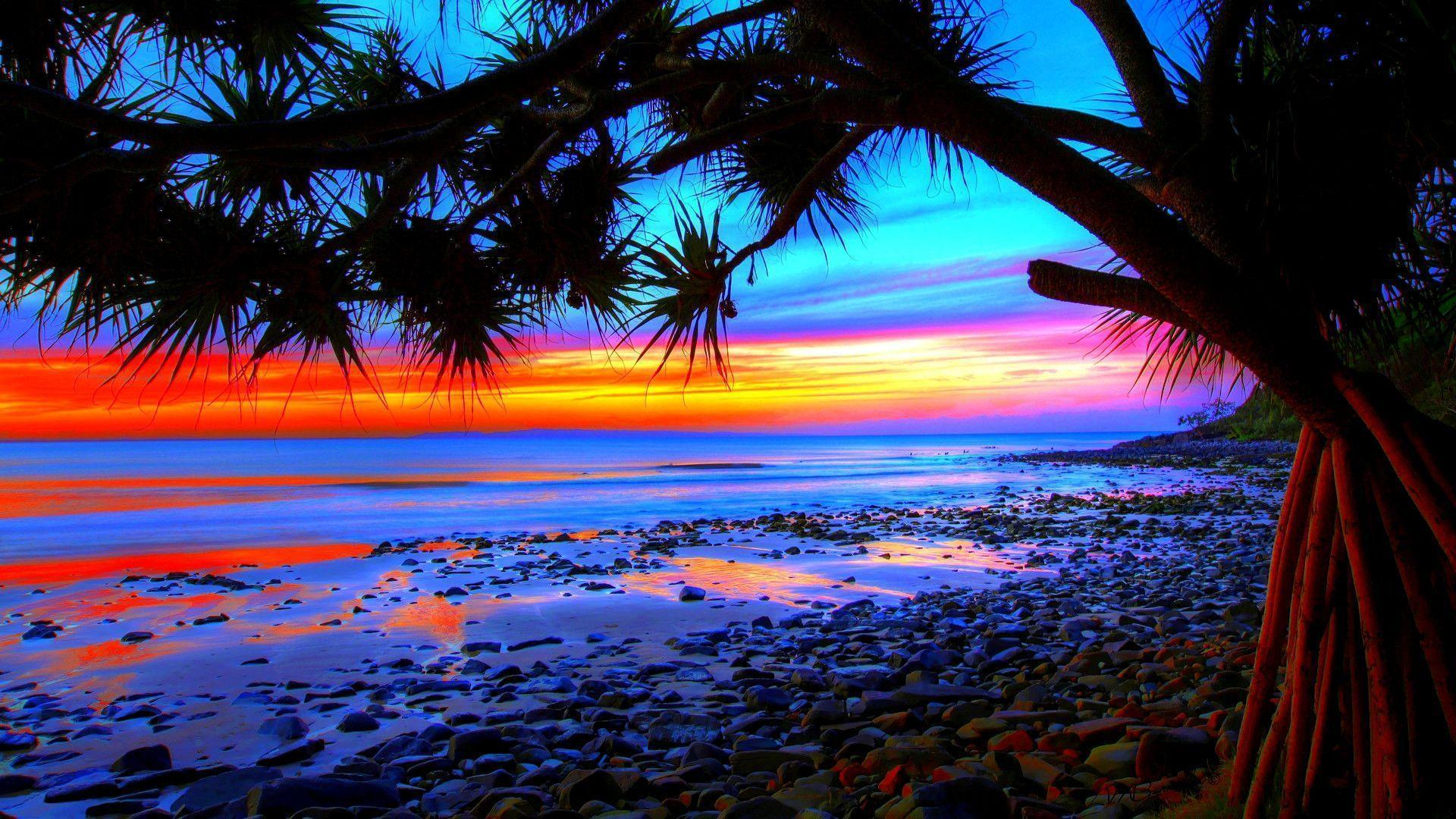 Blue Beach Sunset Wallpaper Hd Pictures 4 HD Wallpapers
