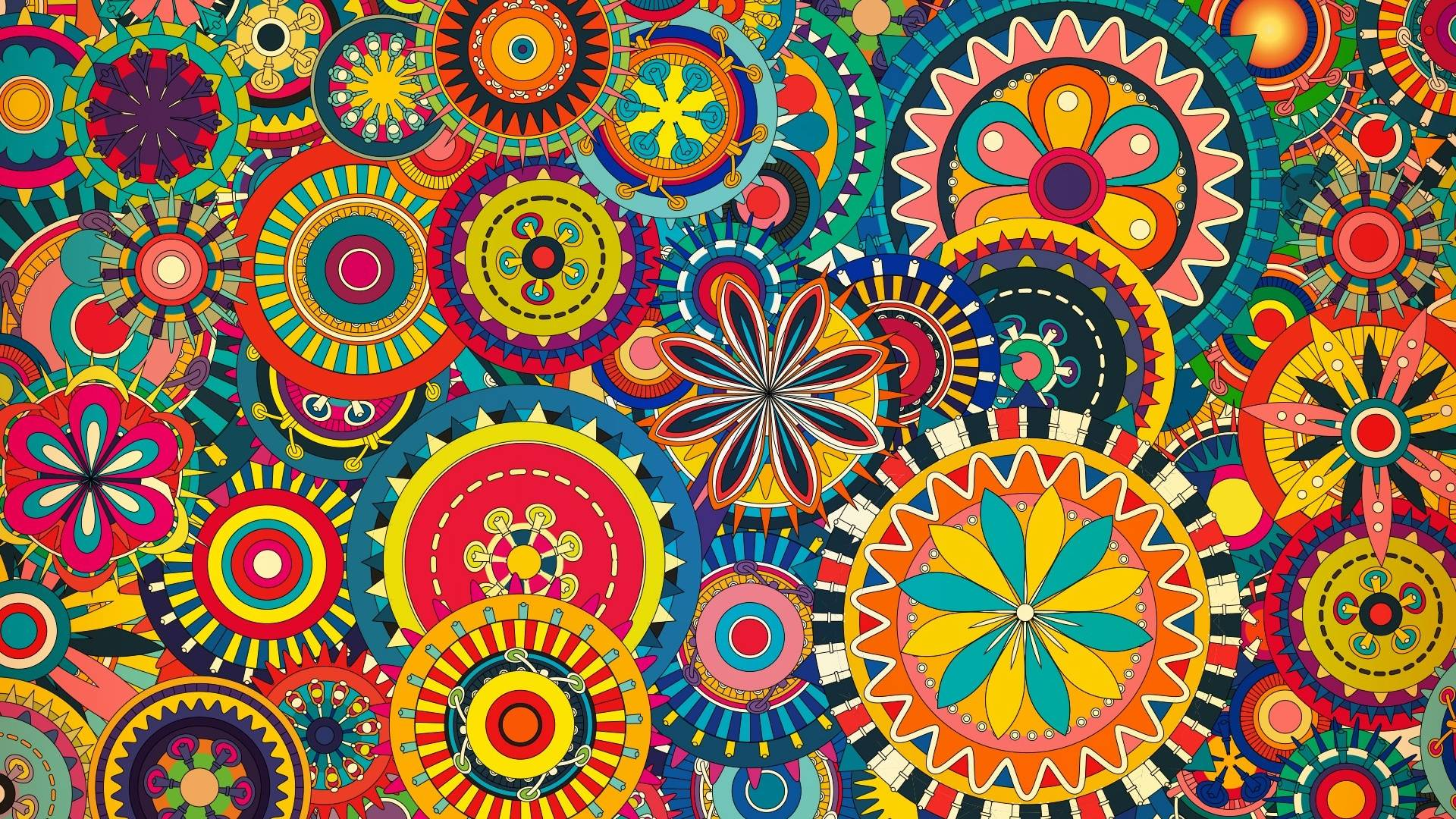 1920x1080 multicolored floral shapes desktop pc and mac wallpaper