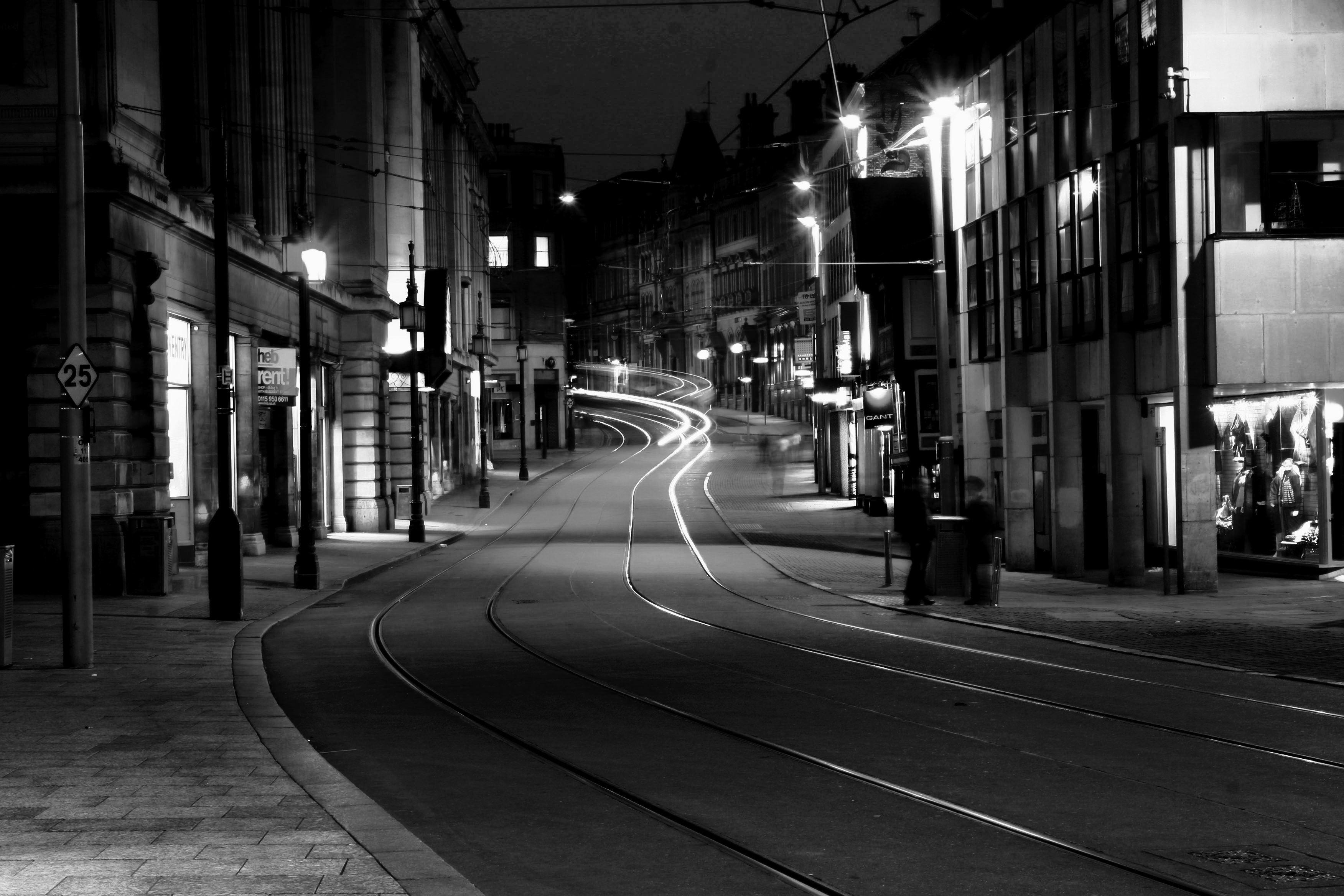 Night Street Black And White Photography HD Wa Wallpapers