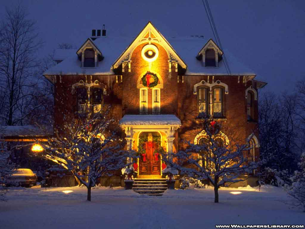 Snowy Christmas House - Christmas front house wallpaper christmas backgrounds