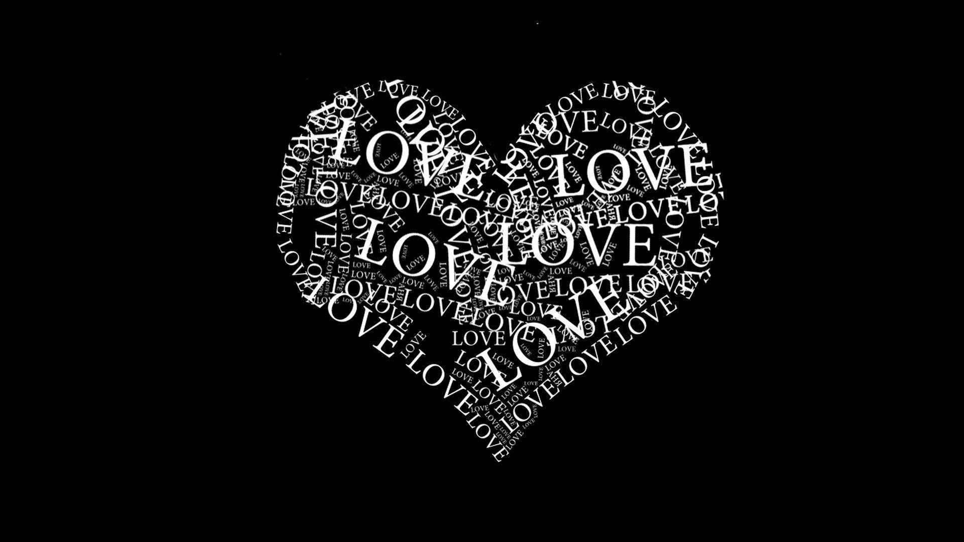 Image For > Love Heart Black And White