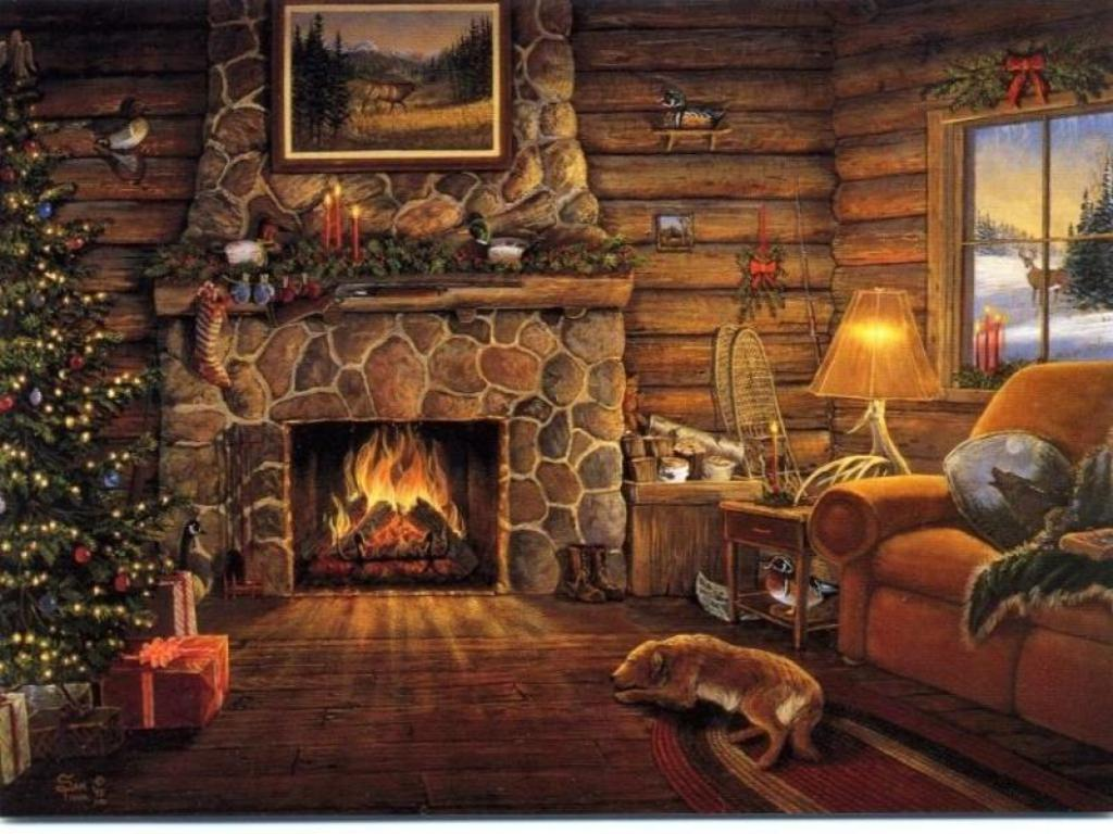Log cabin wallpapers wallpaper cave for Cabin fireplace pictures