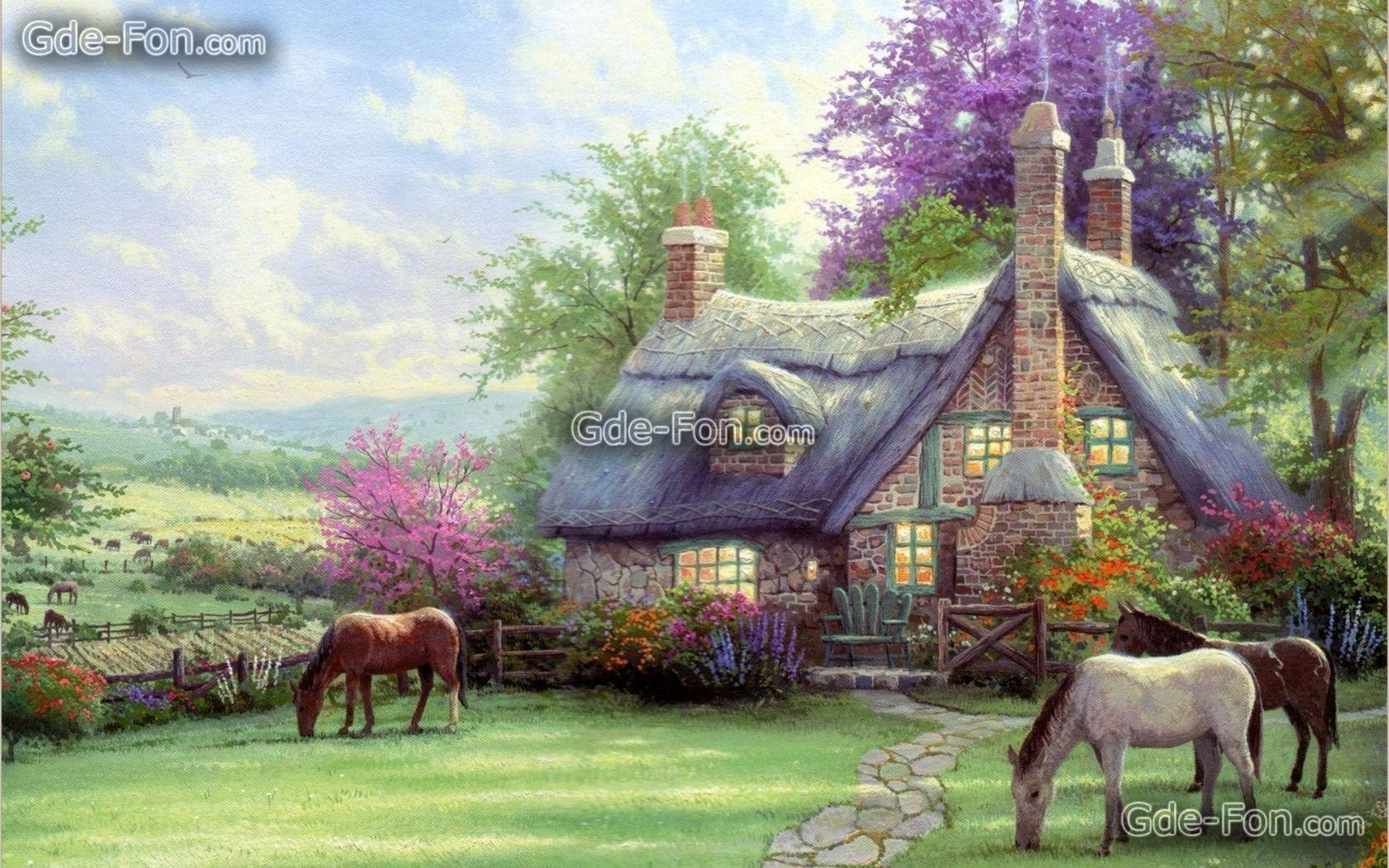 Download wallpapers Thomas Kinkade, painting, Horses, home free