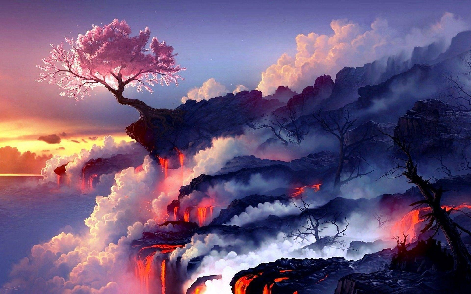 Cherry blossoms and lava : wallpapers