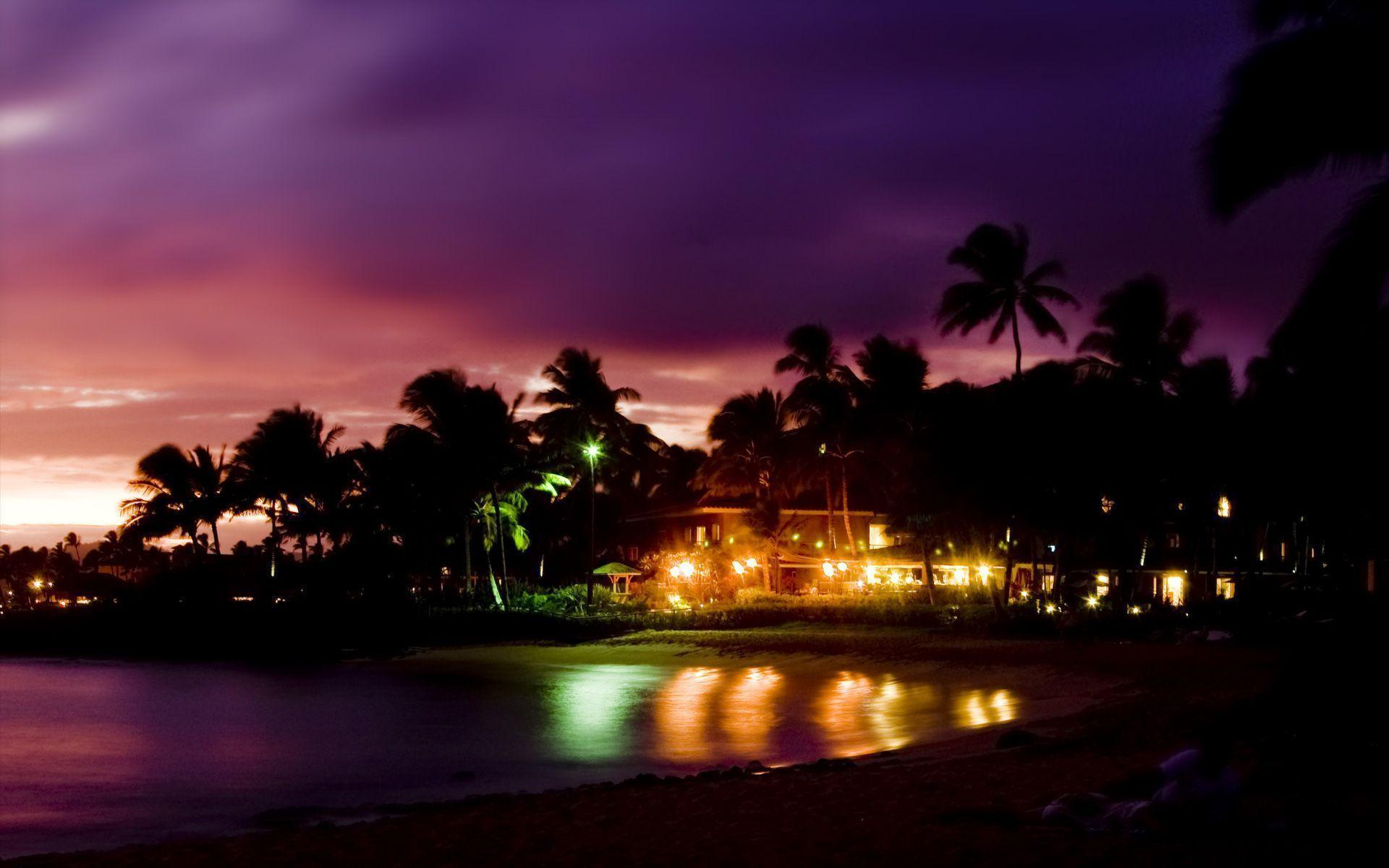 Hd Tropical Island Beach Paradise Wallpapers And Backgrounds: Beach At Night Wallpapers