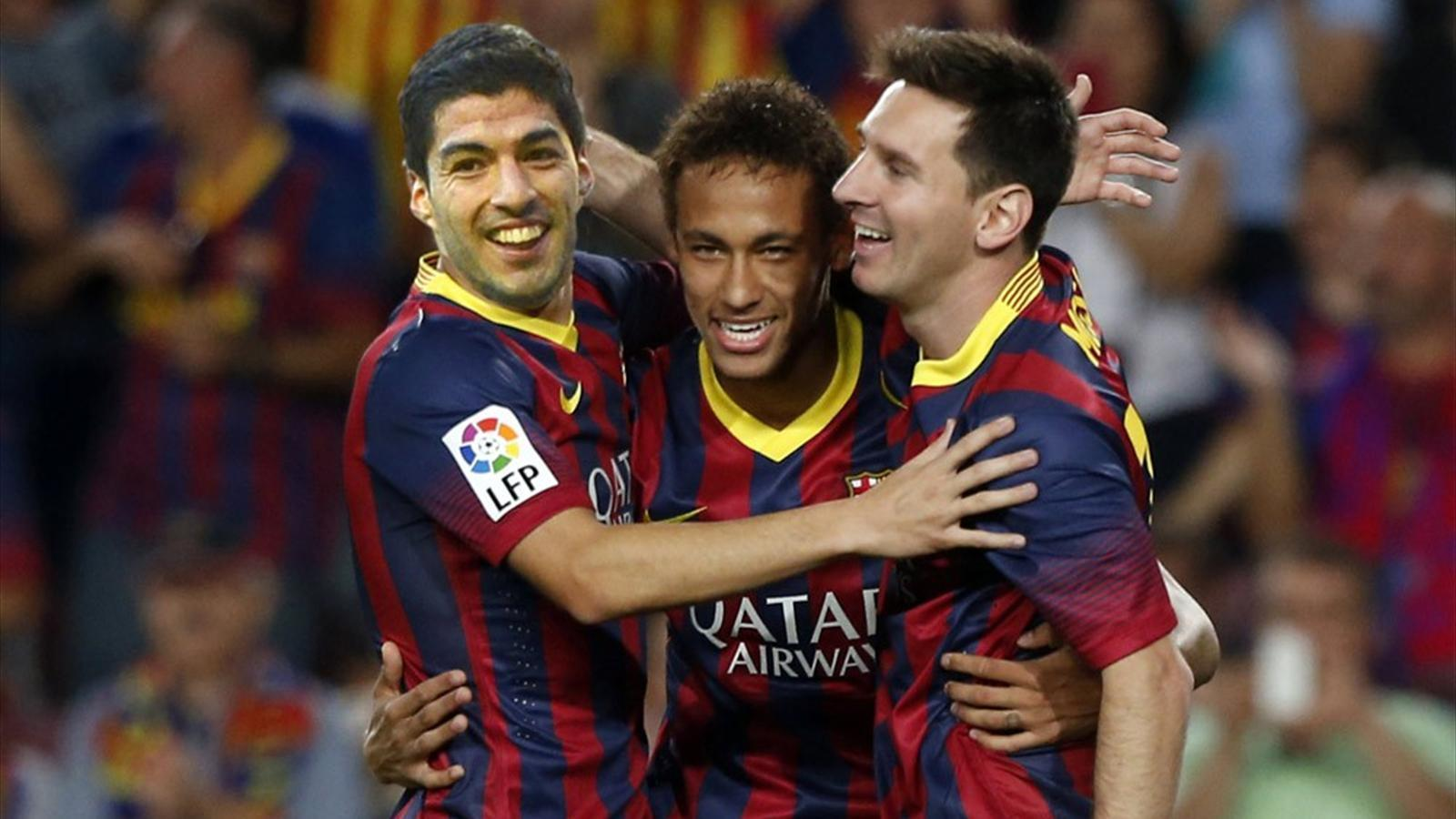 Messi, Neymar and Suarez in action photo for best desktop