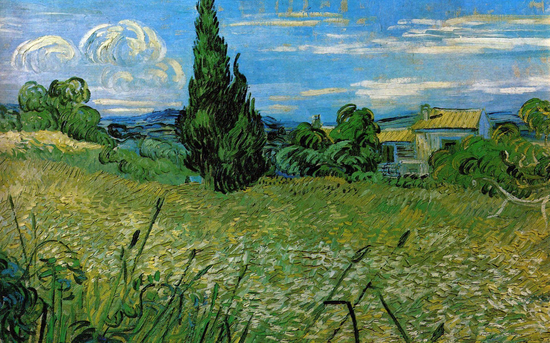 Wheatfield With Cypresses Wallpaper Van Gogh Desktop Wallp...