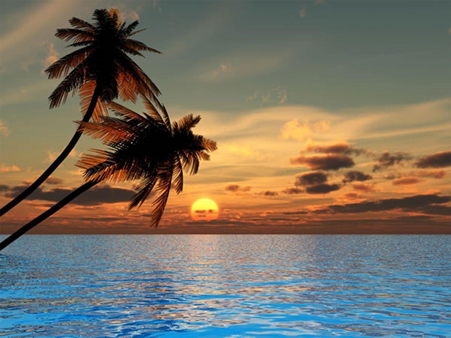 Beautiful Beach Sunsets Painting Background 1 HD Wallpapers
