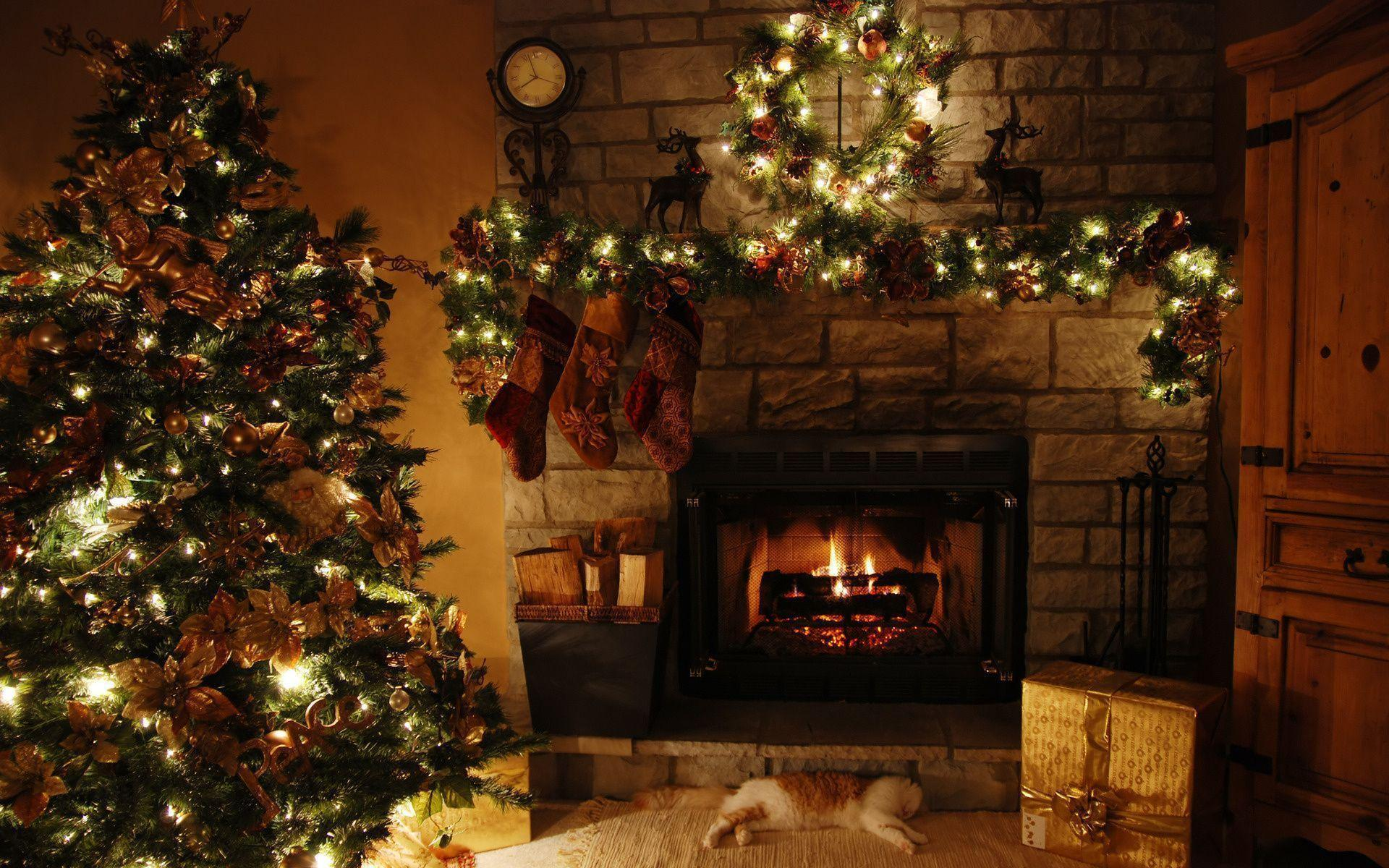 Xmas Stuff For > Christmas Fireplace Scene Wallpapers