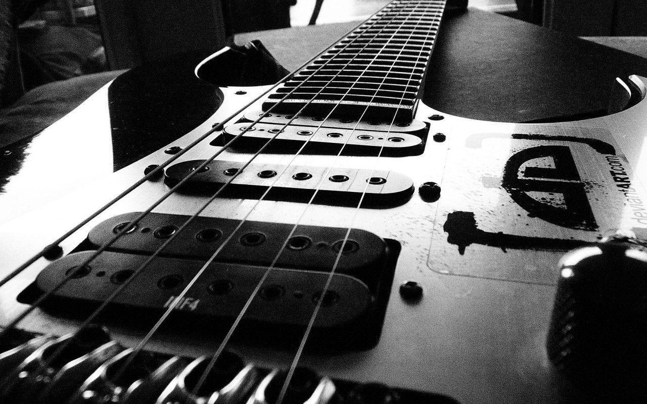 Black and White Electric Guitar DeviantArt.com Music Desktop HD ...