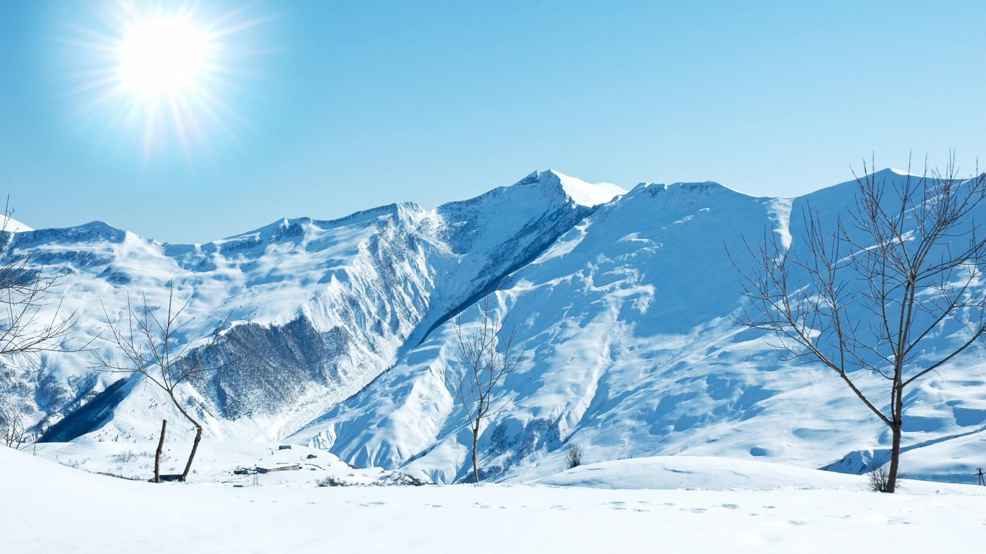 1920x1080 Snow Mountain And Sun Wallpapers