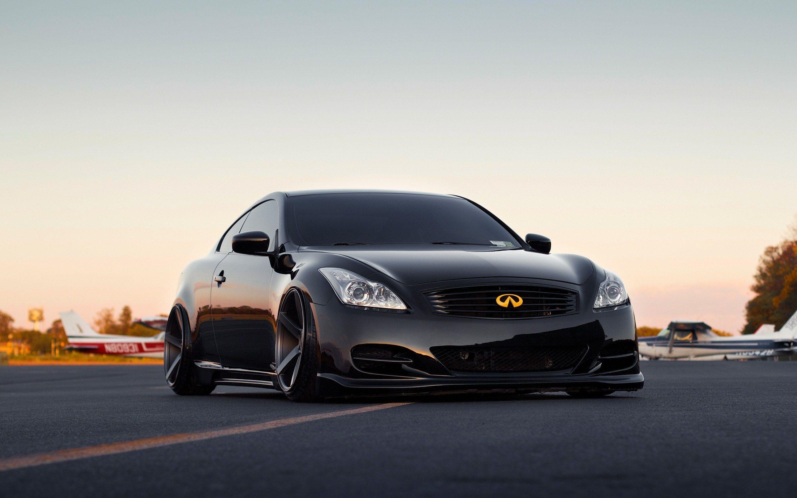 Black Infiniti G37 Coupe Tuning Dramatic Car Wide Hd Wallpaper