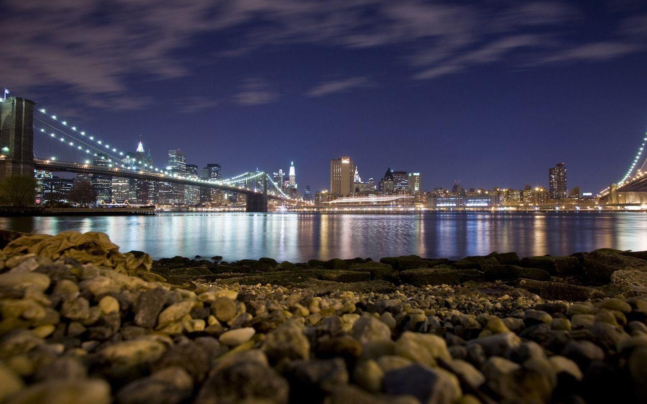 New York City Bridge Skyline Night Desktop Wal Wallpapers