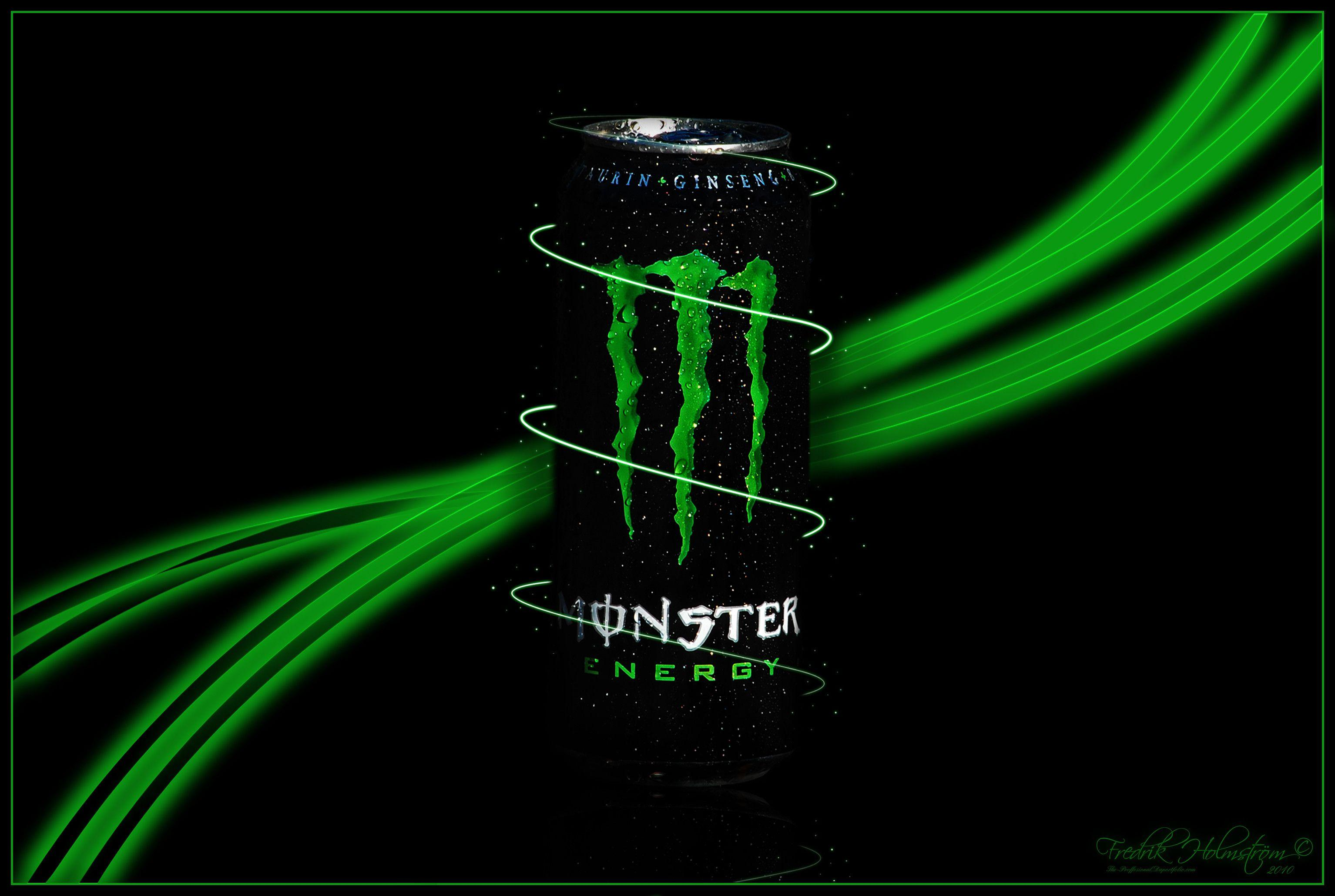 Cool Monster Energy Green Wings in Dark Backgrounds Logo Hd