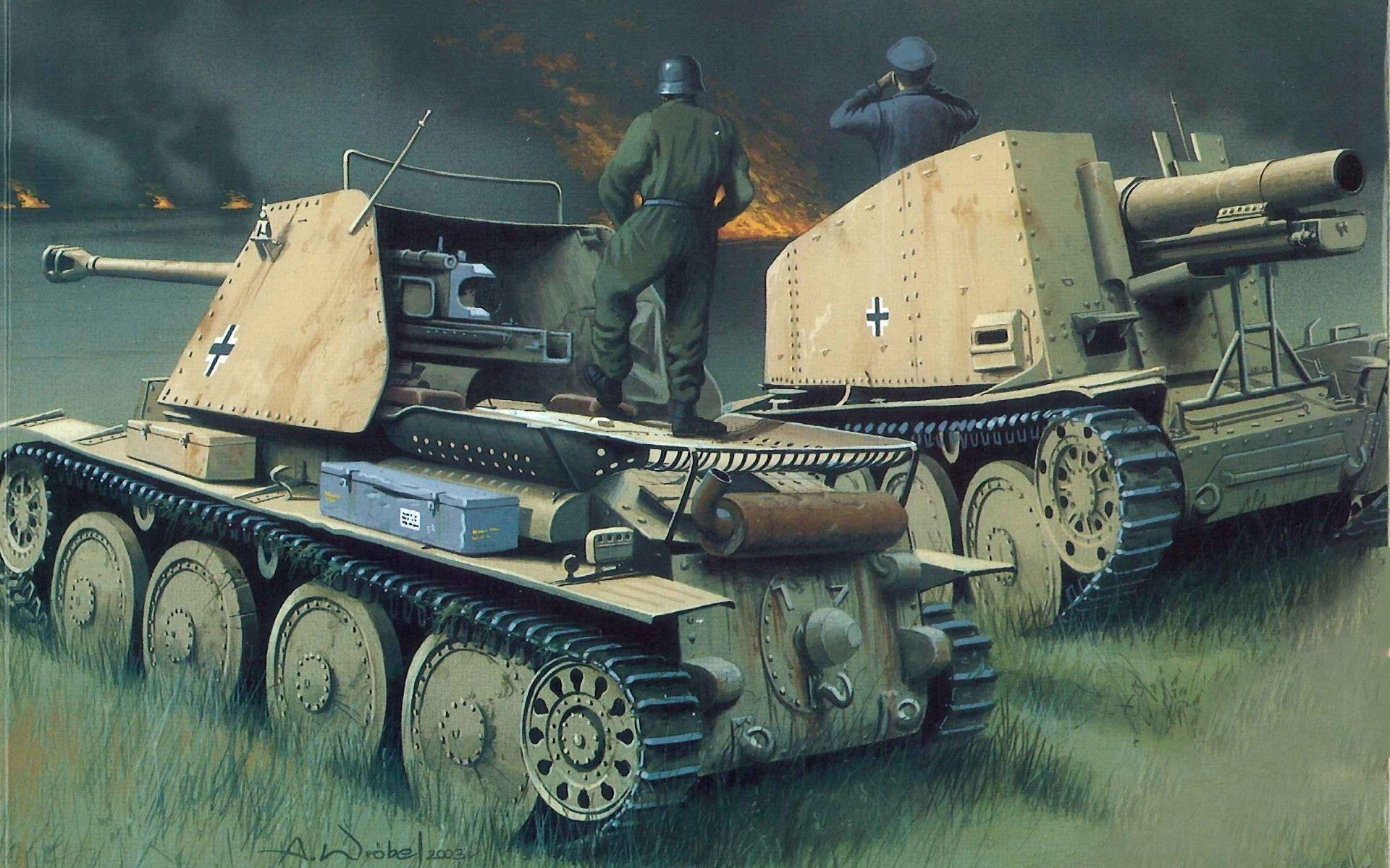 Download wallpapers panzerjager marder, ww2, military art free