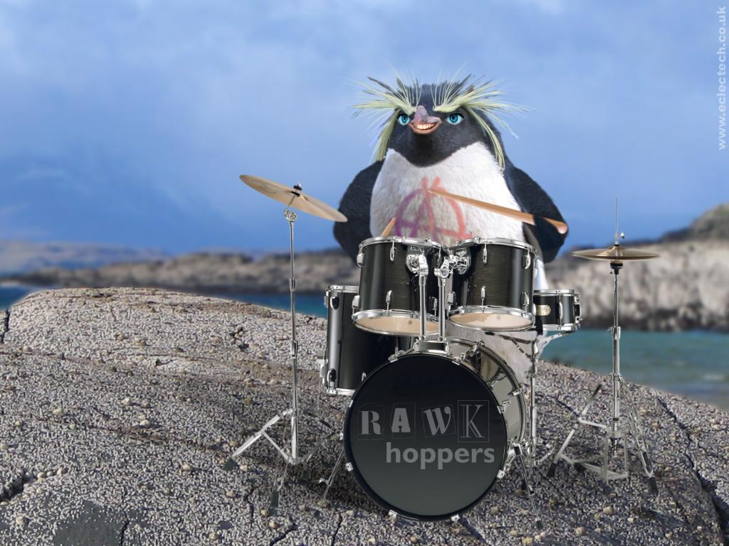 The rockhopper drummer for the RAWKhoppers