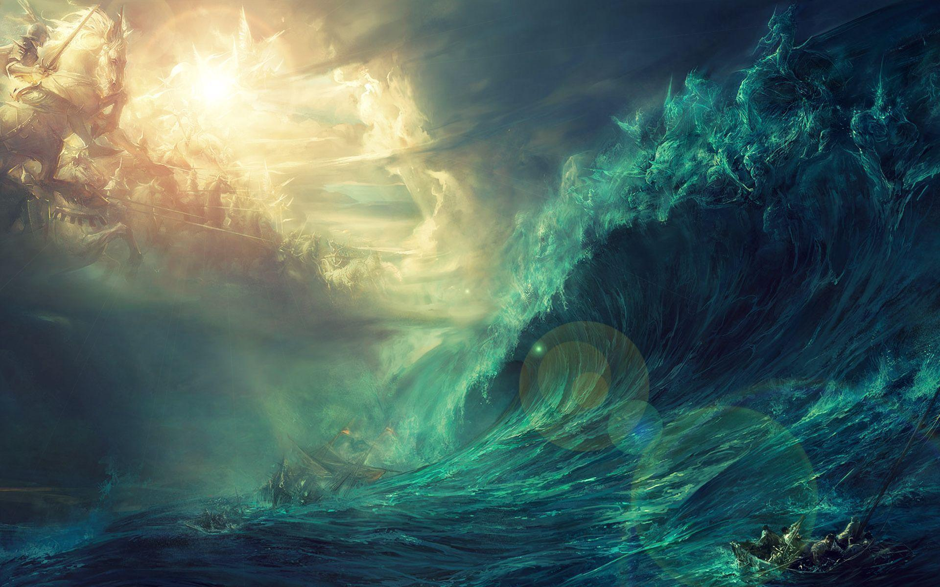 Stormy Sea Painting wallpaper