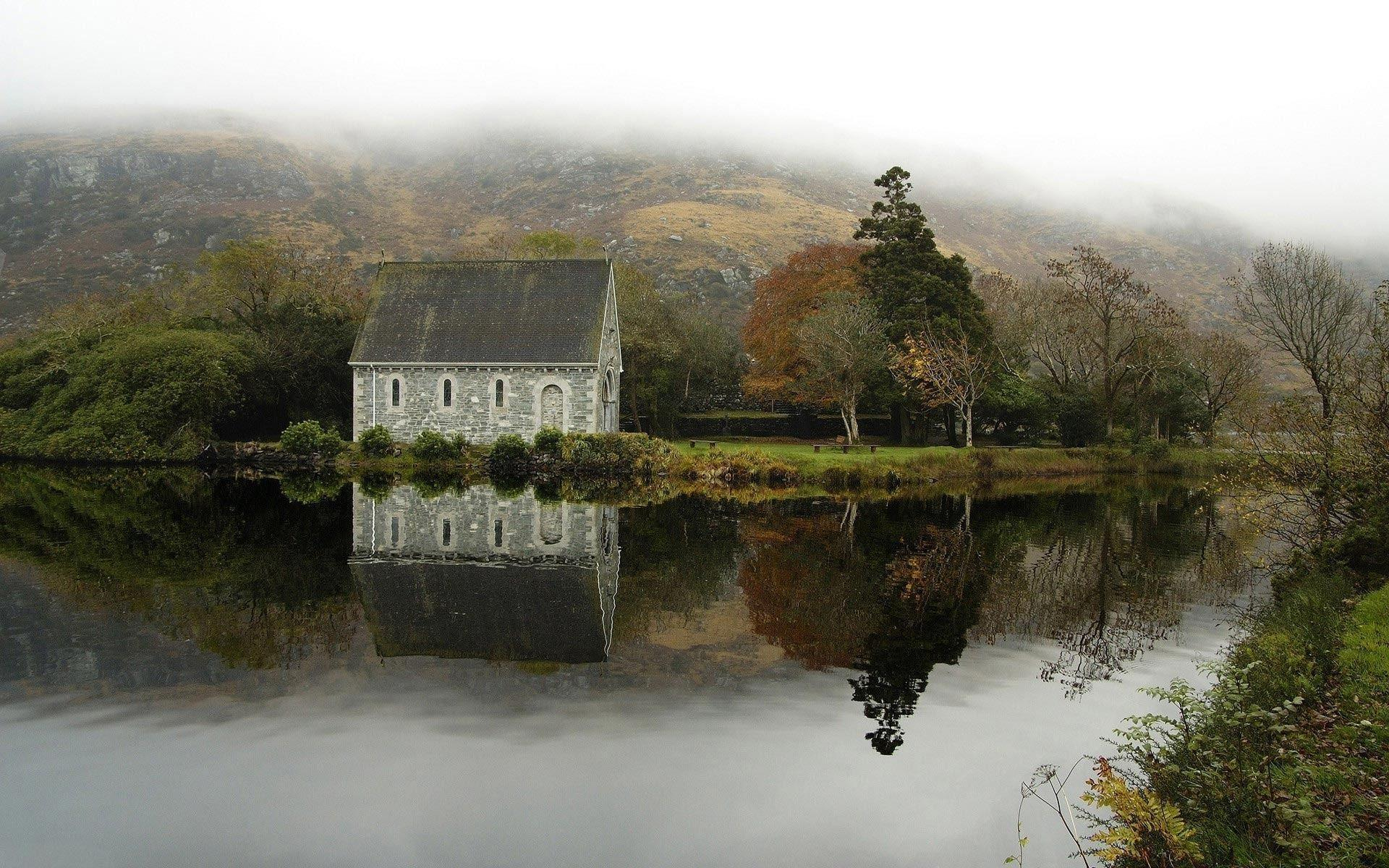 Church at Gougane Barra Lake, Ireland wallpapers #