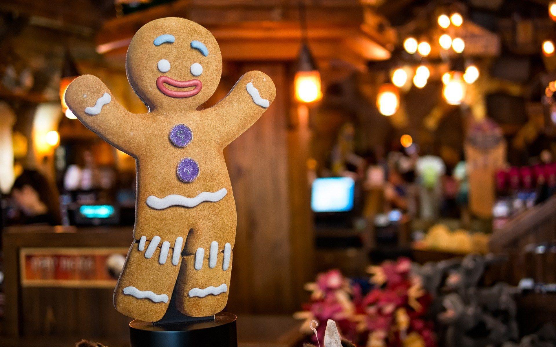 Gingerbread Man Biscuit Cookie Christmas HD Wallpaper