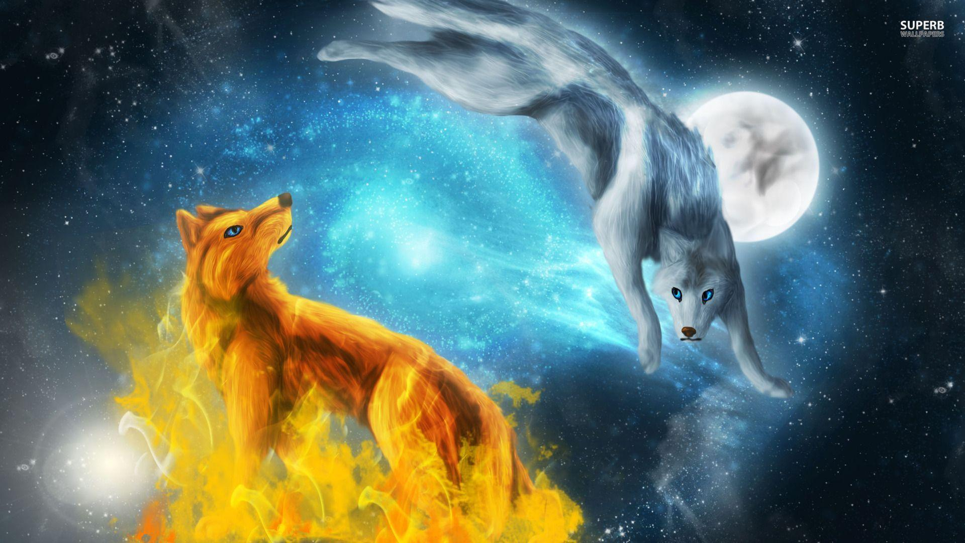 Fire and ice wolves wallpapers