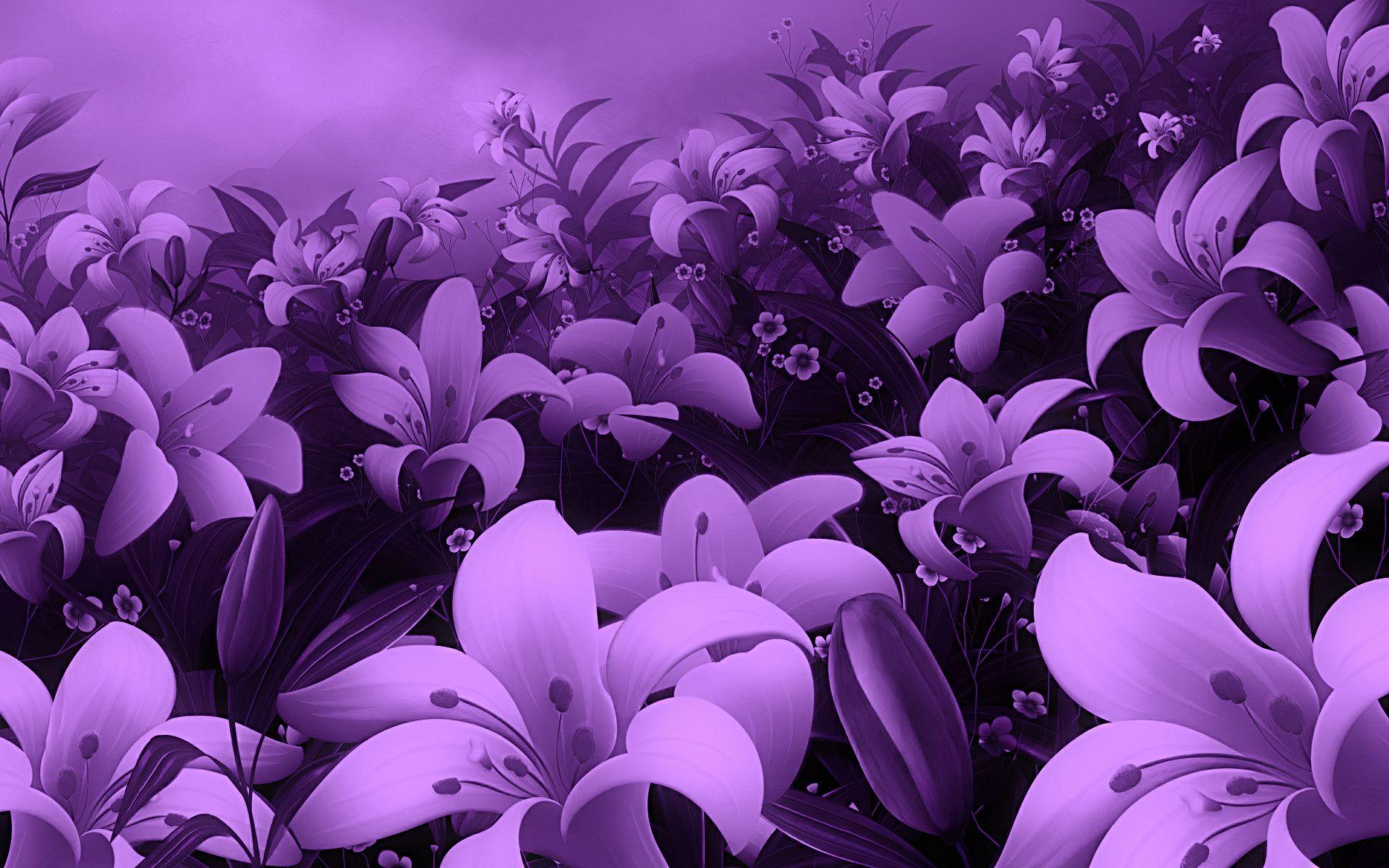 Wallpapers For > Cute Purple Flower Background