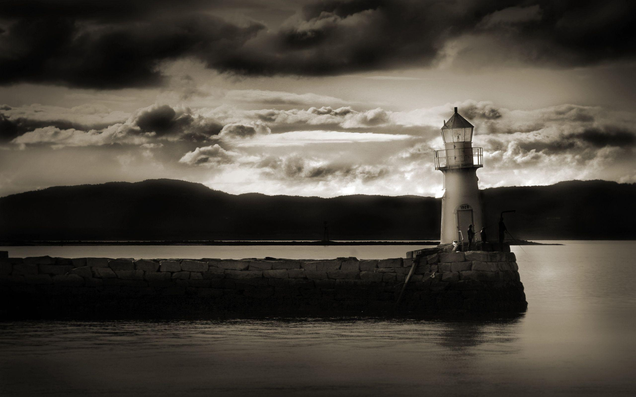 Art: Scotland Dark Lighthouse Beach Islands Hd Backgrounds ...