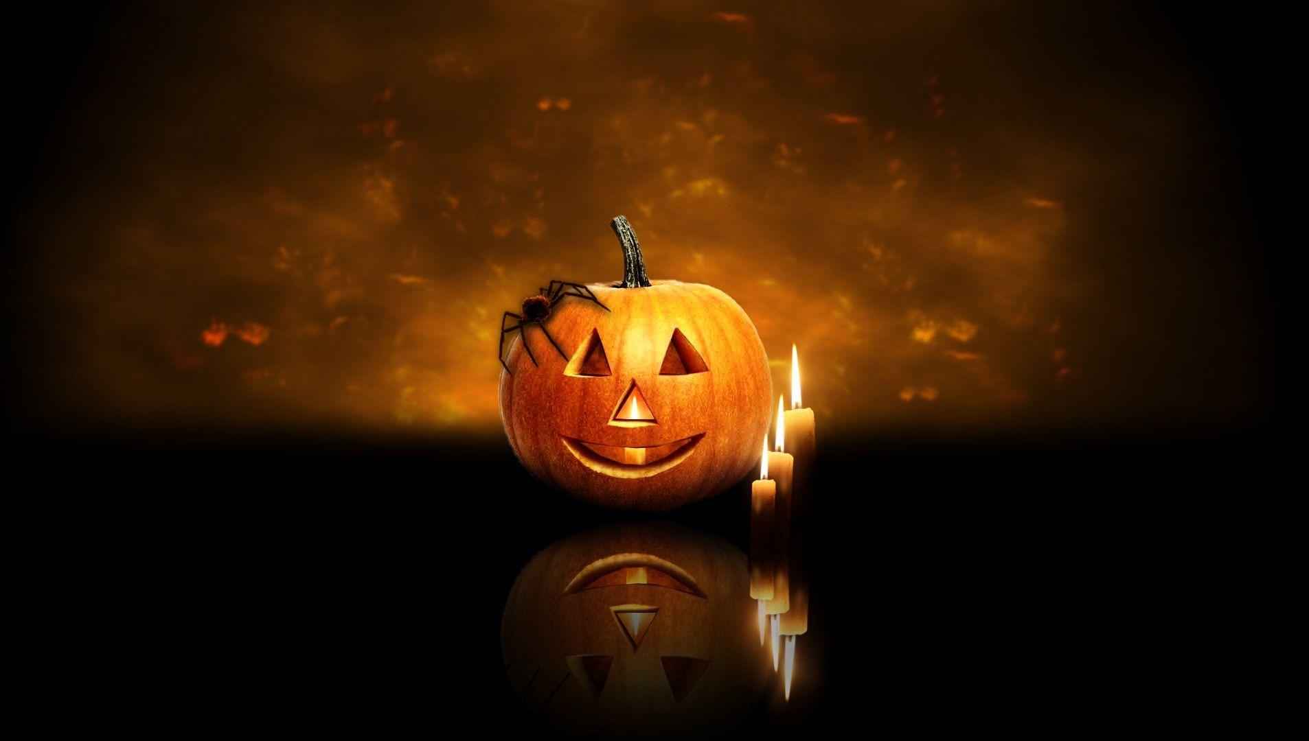 Halloween Pumpkin and Candles Free Stock Photo and Wallpapers