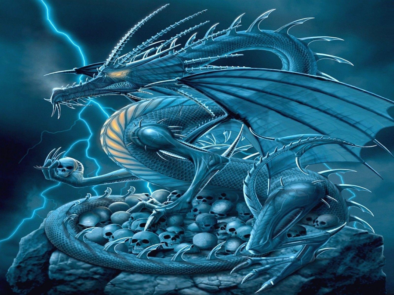 cool blue dragon wallpaper - photo #3