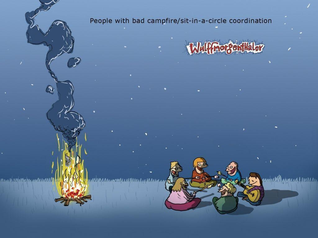 1024x768 Campfire people desktop PC and Mac wallpapers
