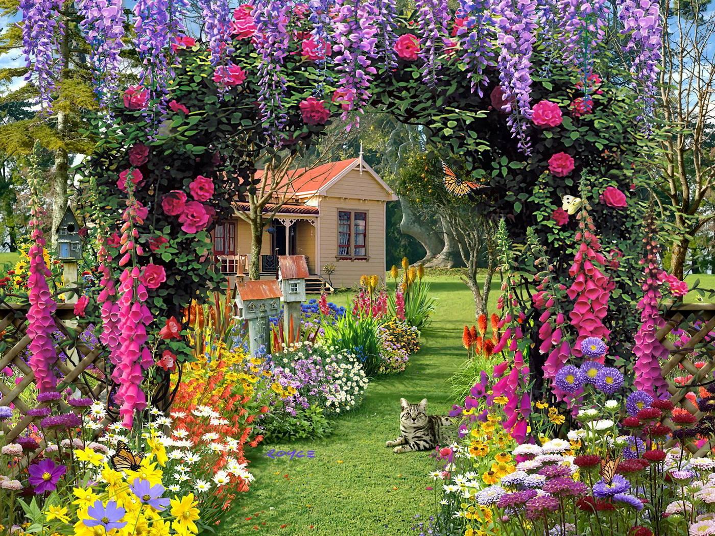 Flower garden wallpaper background -