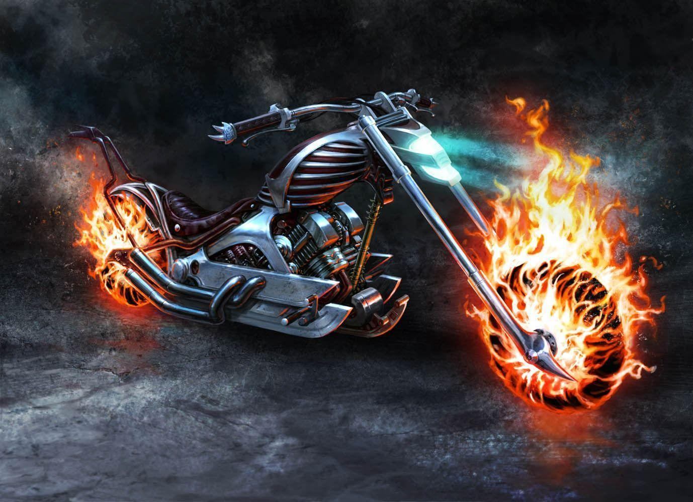 Ghost Rider Bike On Fire Wallpapers