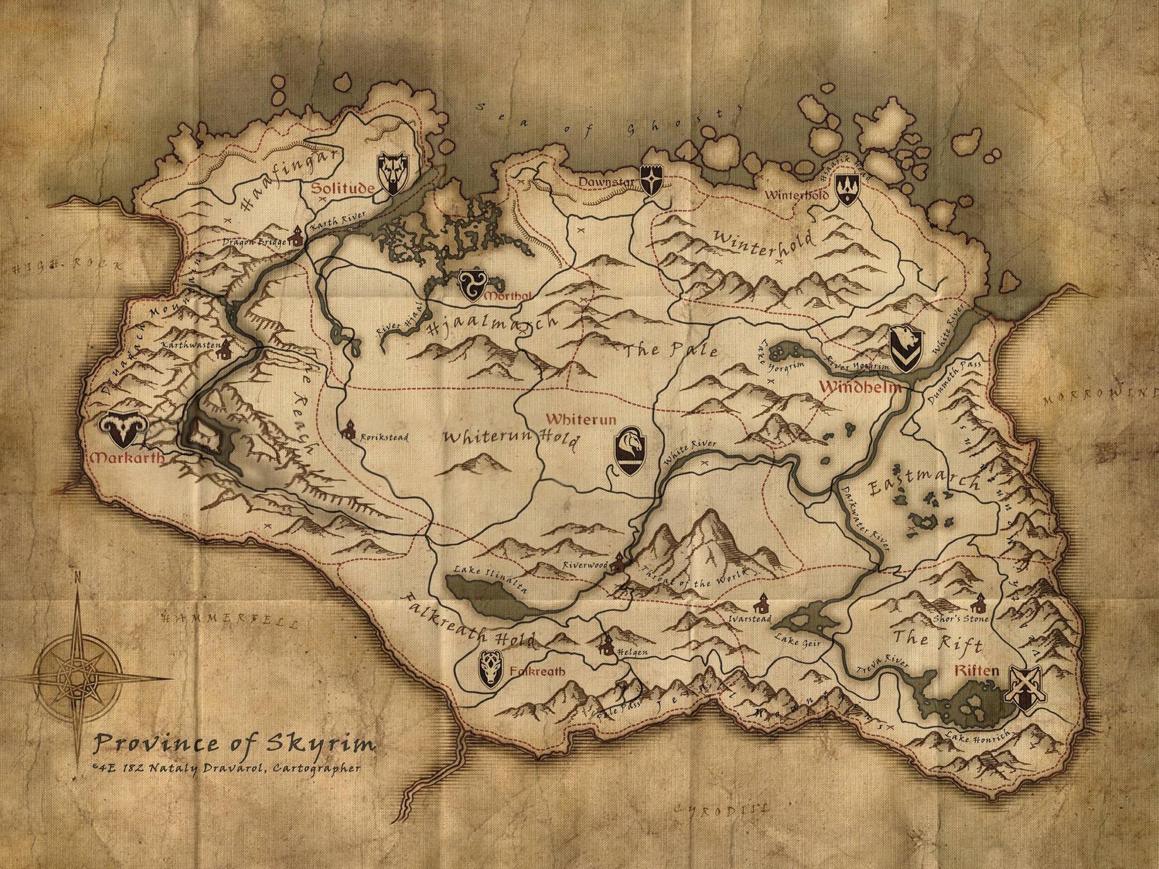 Skyrim Map Wallpapers Wallpaper Cave