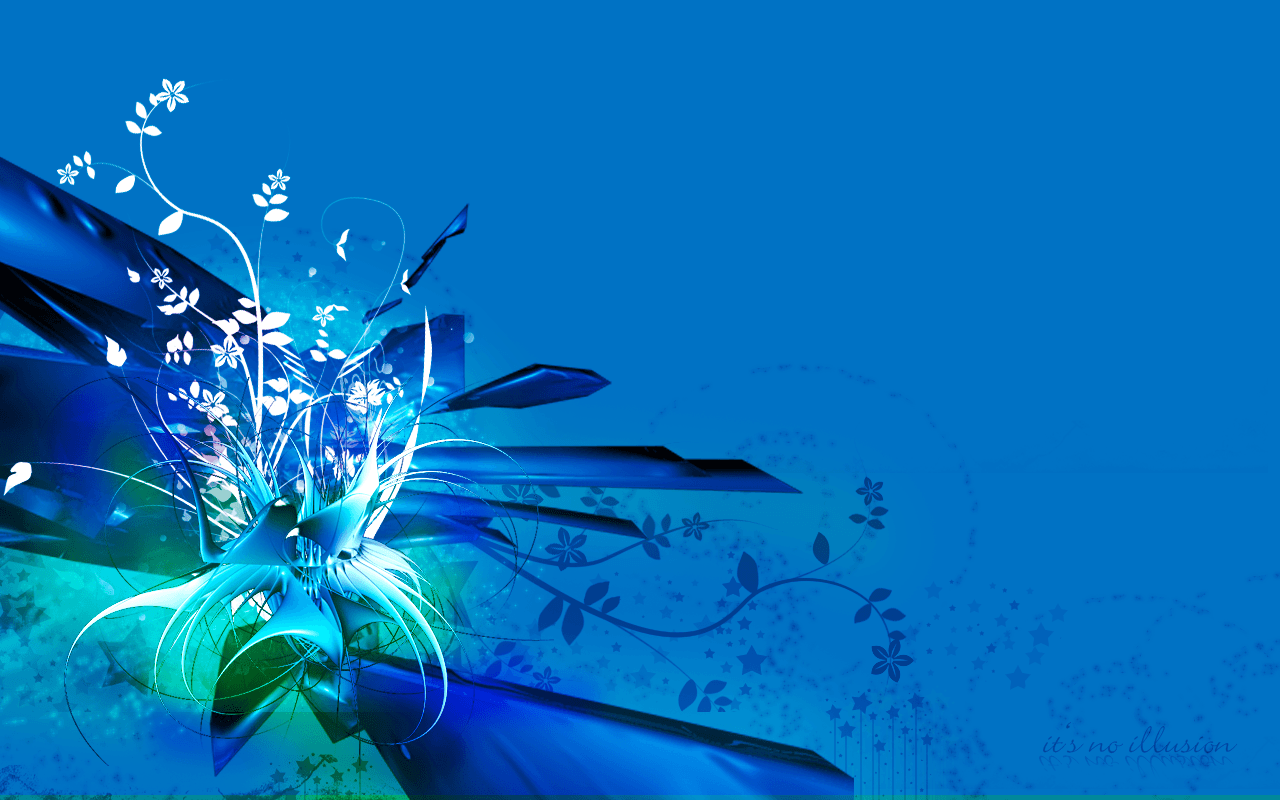 Abstract Wallpaper Black Hearts Blue 3d And Hd Wallpaper: Blue Flowers Wallpapers