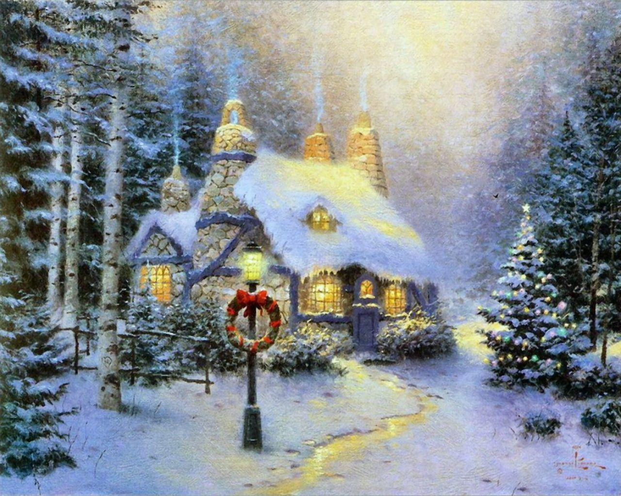 Beautiful Cottage For Holidays: Free Thomas Kinkade Wallpapers For Desktop