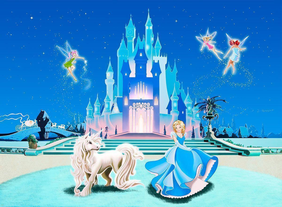 Disney castle backgrounds wallpaper cave for Disney tinkerbell mural