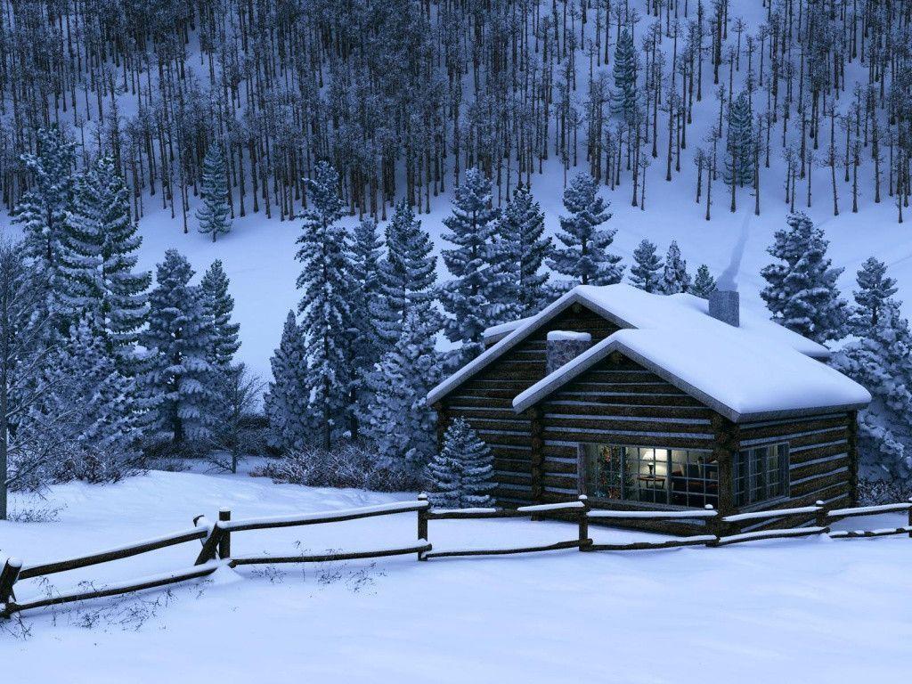 old cabin winter scene wallpaper - photo #5