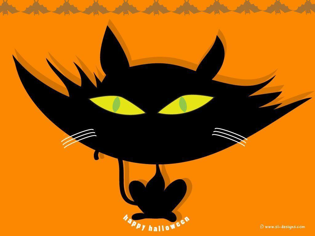 Halloween desktop wallpaper - cat and bats - by SL-Designs