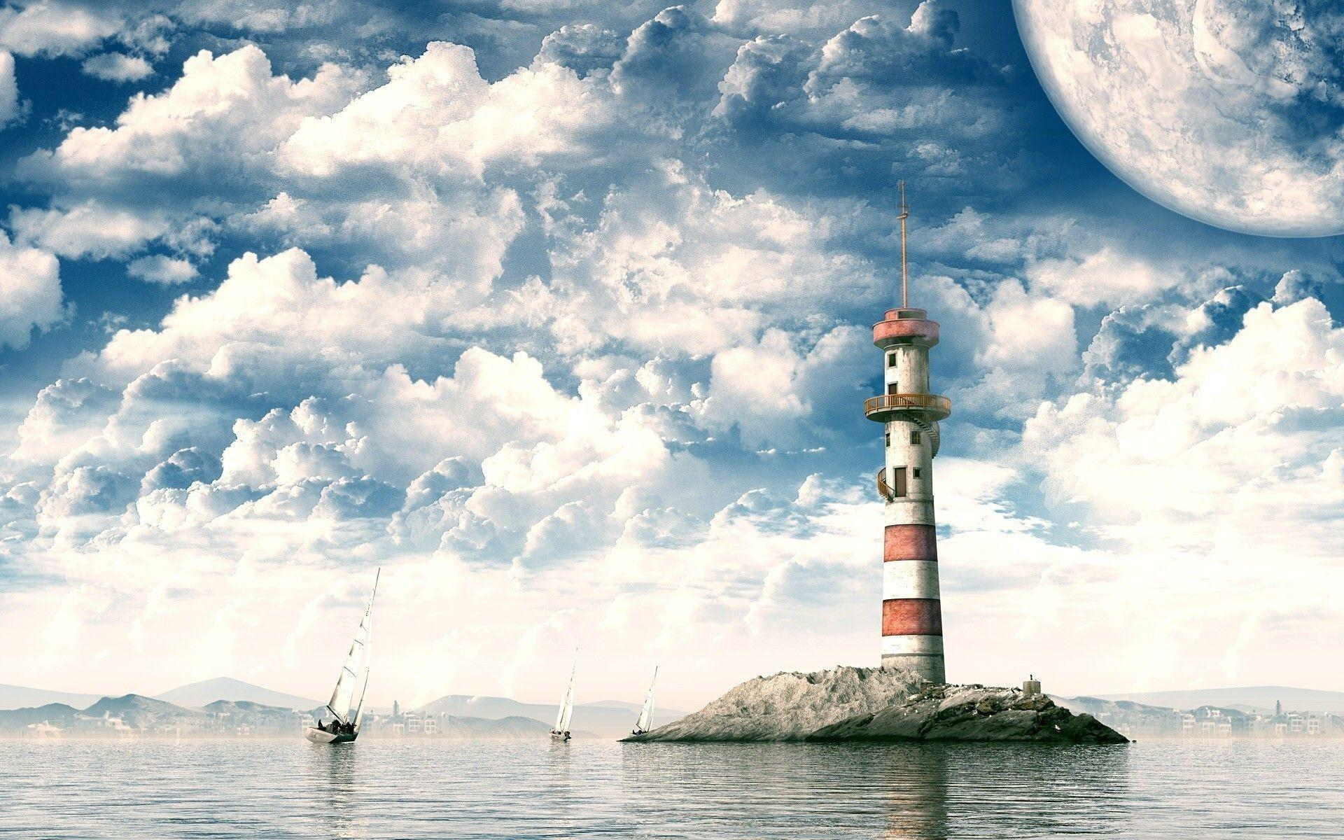 Sailboats and lighthouse Wallpaper #