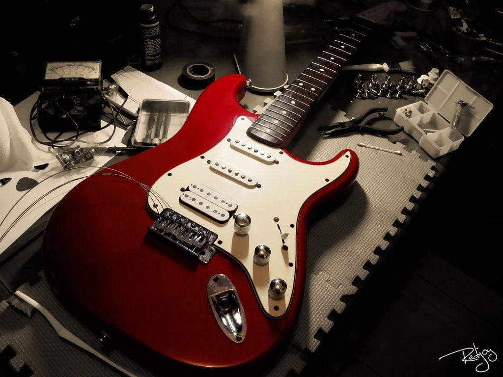 Wallpapers For > Red Fender Guitar Wallpaper