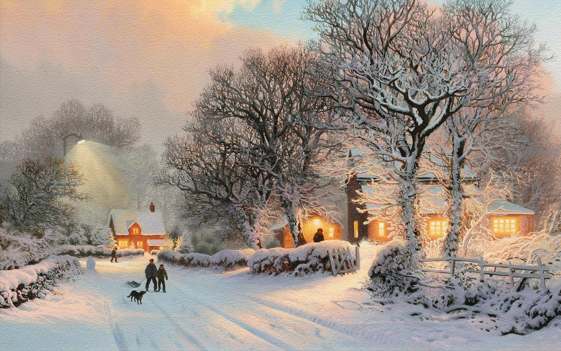 Image For > Christmas Snow Scenery