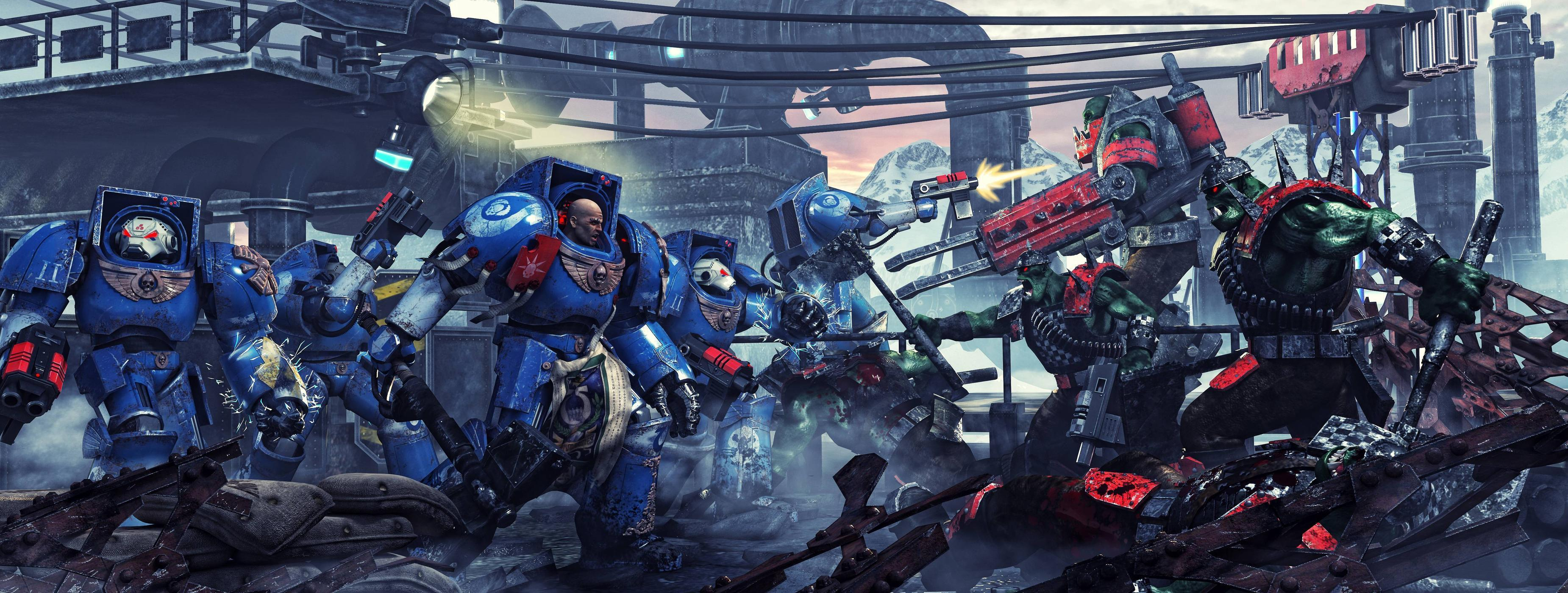 Download wallpapers Ultramarines, Orcs, Space Marines, armor free