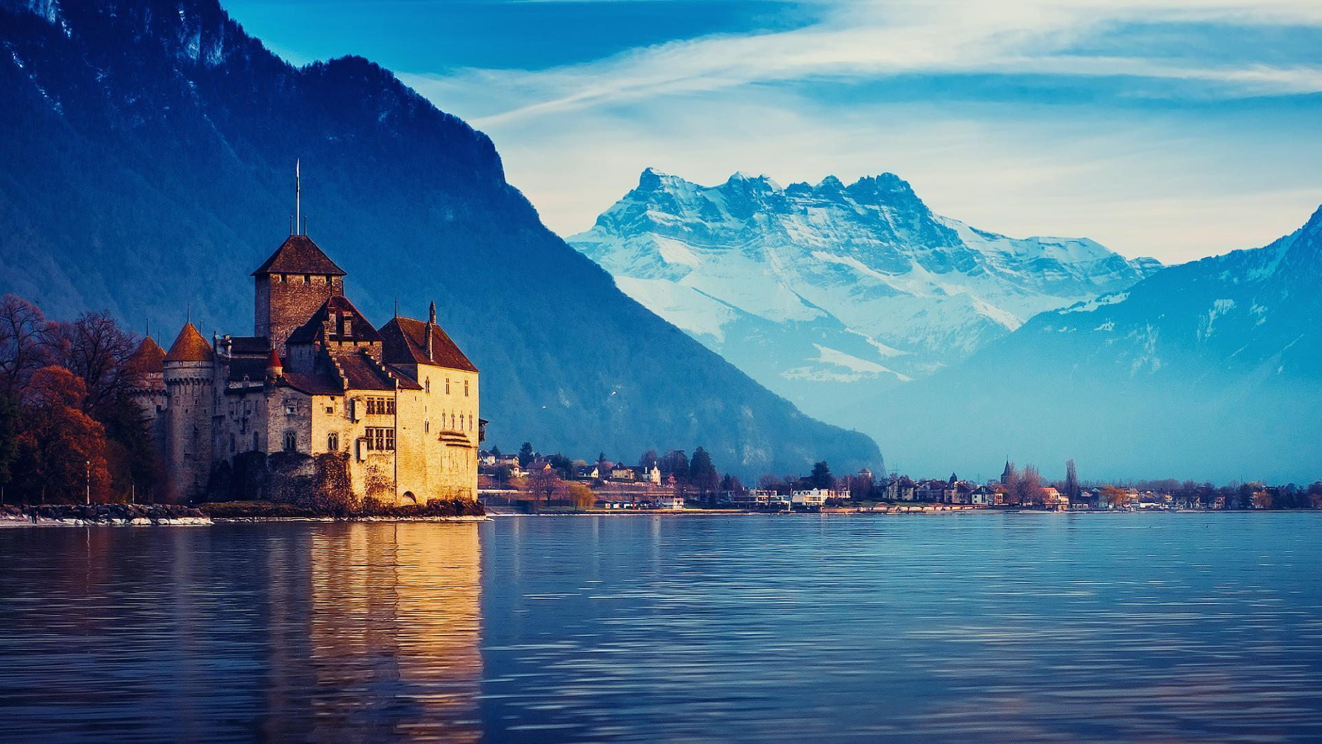 Lake Geneva,Switzerland Landscape Wallpaper 1920x1080 1080p hd .