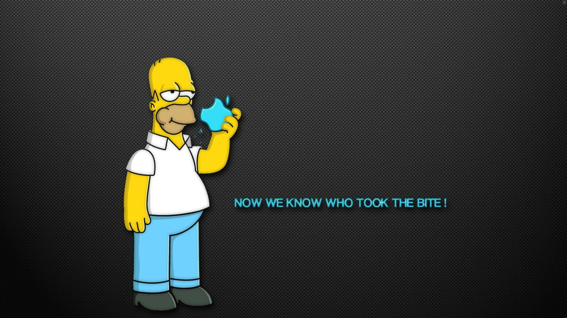 The Simpsons Homer Apple Humor Funny Text Quotes Cartoon Wallpaper .