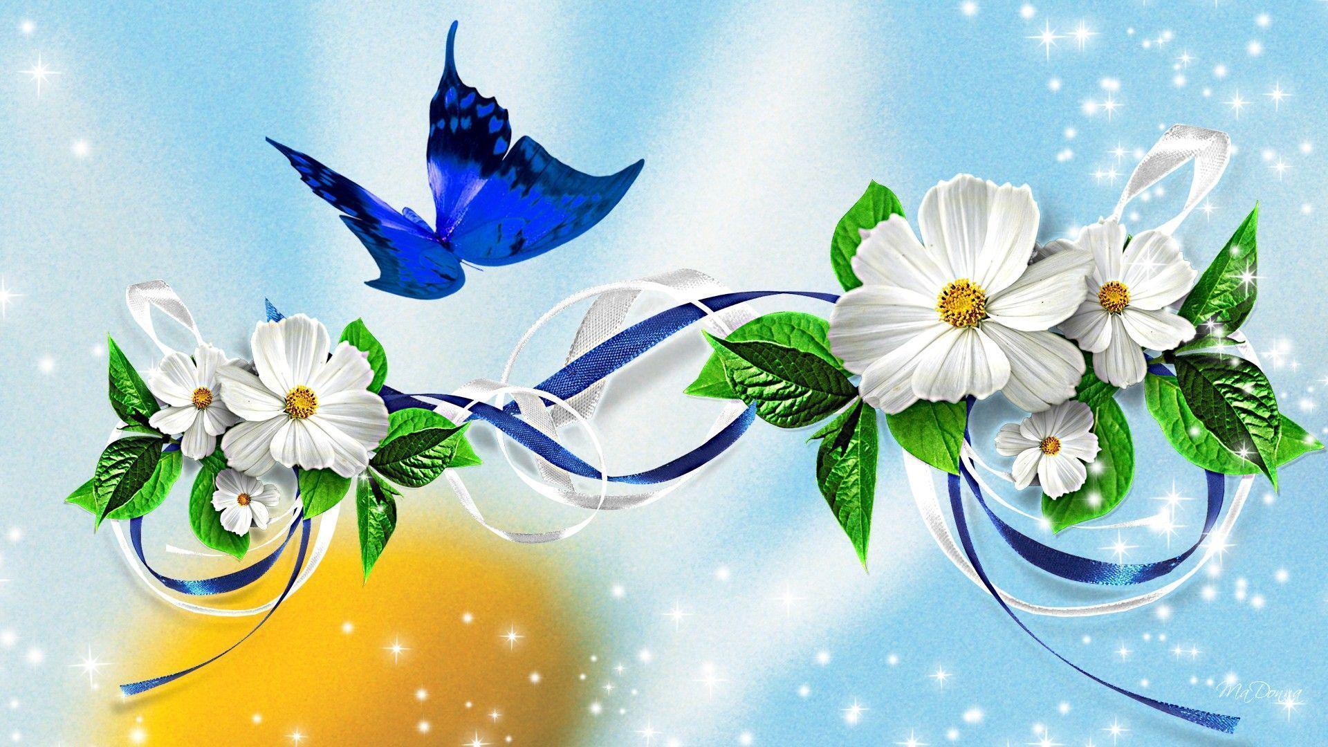 Wallpaper Download The Free Balloons Flowers Butterflies Design
