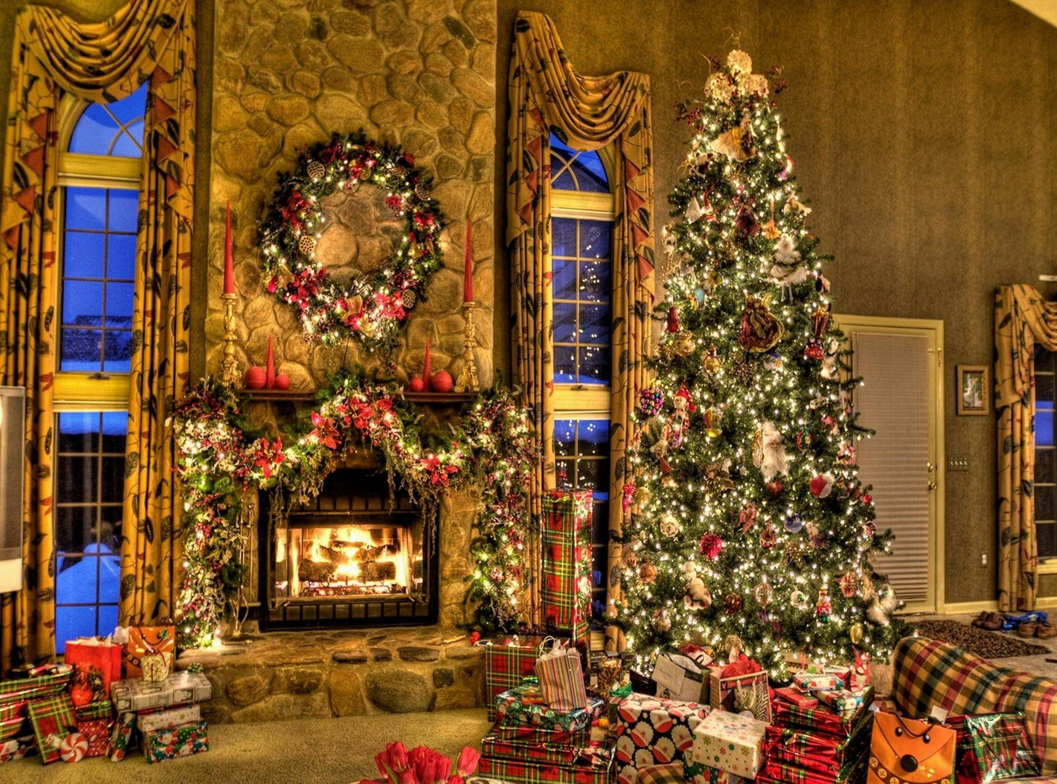Tree Christmas Presents Fireplace Wreath Home wallpapers #